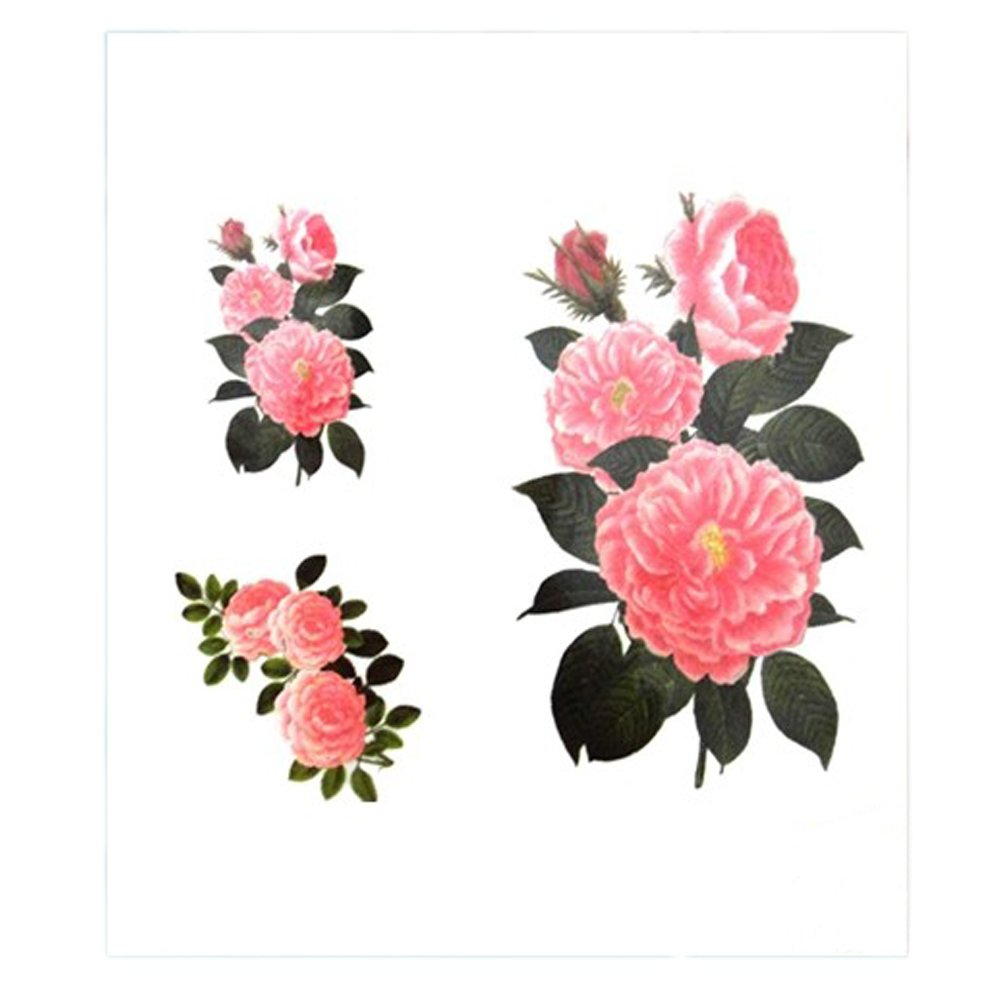 Pink Chinese Peony Blossom Body Tattoo Stickers Waterproof Fake Tattoos