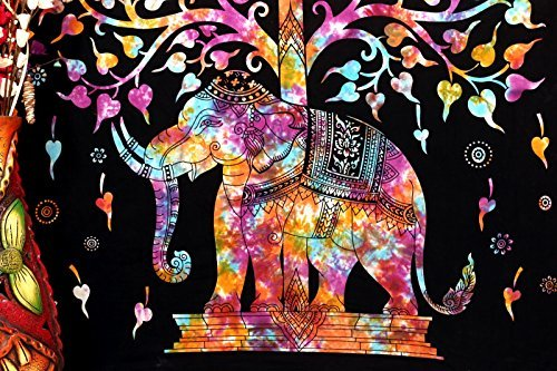 Kayso Elephant Tree Tapestry with Good Luck White Elephant Tapestry Hippie Gypsy Wall Hanging Tree of Life Tapestry and New Age Dorm Tapestry MultiBlack