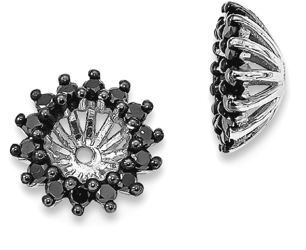 ICE CARATS 925 Sterling Silver Black Diamond Earrings Jacket Fine Jewelry Gift Set For Women Heart