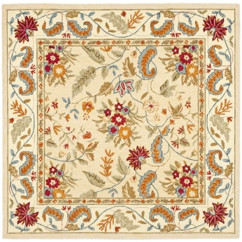 Safavieh Chelsea Collection HK141A Hand-Hooked Ivory Premium Wool Square Area Rug (8' Square)