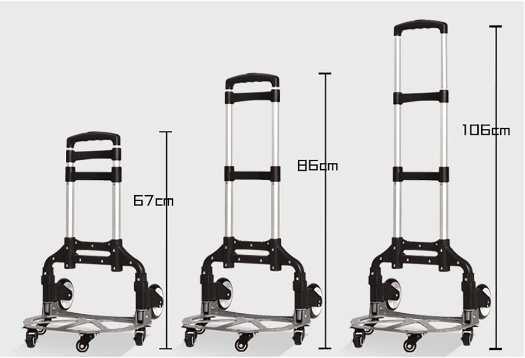 Color : B FKDECHE Aluminum Alloy Rod Portable Fold Luggage cart Hand Truck Trolley Shopping Cart Telescopic Shopping Moving House Load 75kg with 40L Backpack Blue