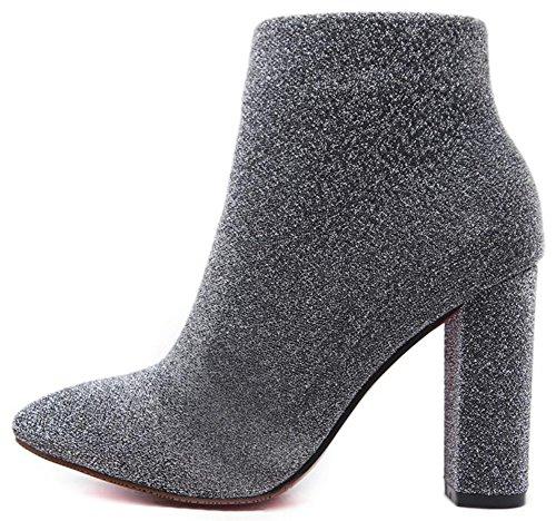 Idifu Kvinna Elegant Tänjbar Tyg Hög Klossklackar Spetsiga Tå Boots Med Dragkedja Grå