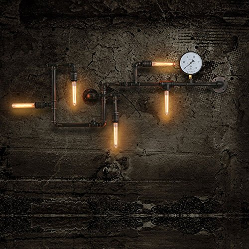 Injuicy Lighting Loft Vintage Wrought Iron Water Pipe Edison Wall Lights Fixtures Retro Industrial Rustic Ste&unk Metal Wall Sconces Balcony Cafe Bar ... & Injuicy Lighting Loft Vintage Wrought Iron Water Pipe Edison Wall ...