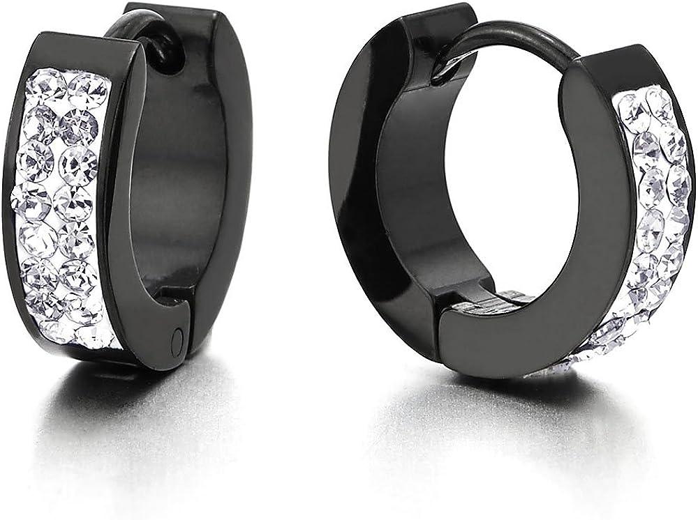2 Pequeño Negro Pendientes del Aro con Blanco Zirconio Cúbico, Huggie Pendientes para Hombres Mujer, Acero Inoxidable