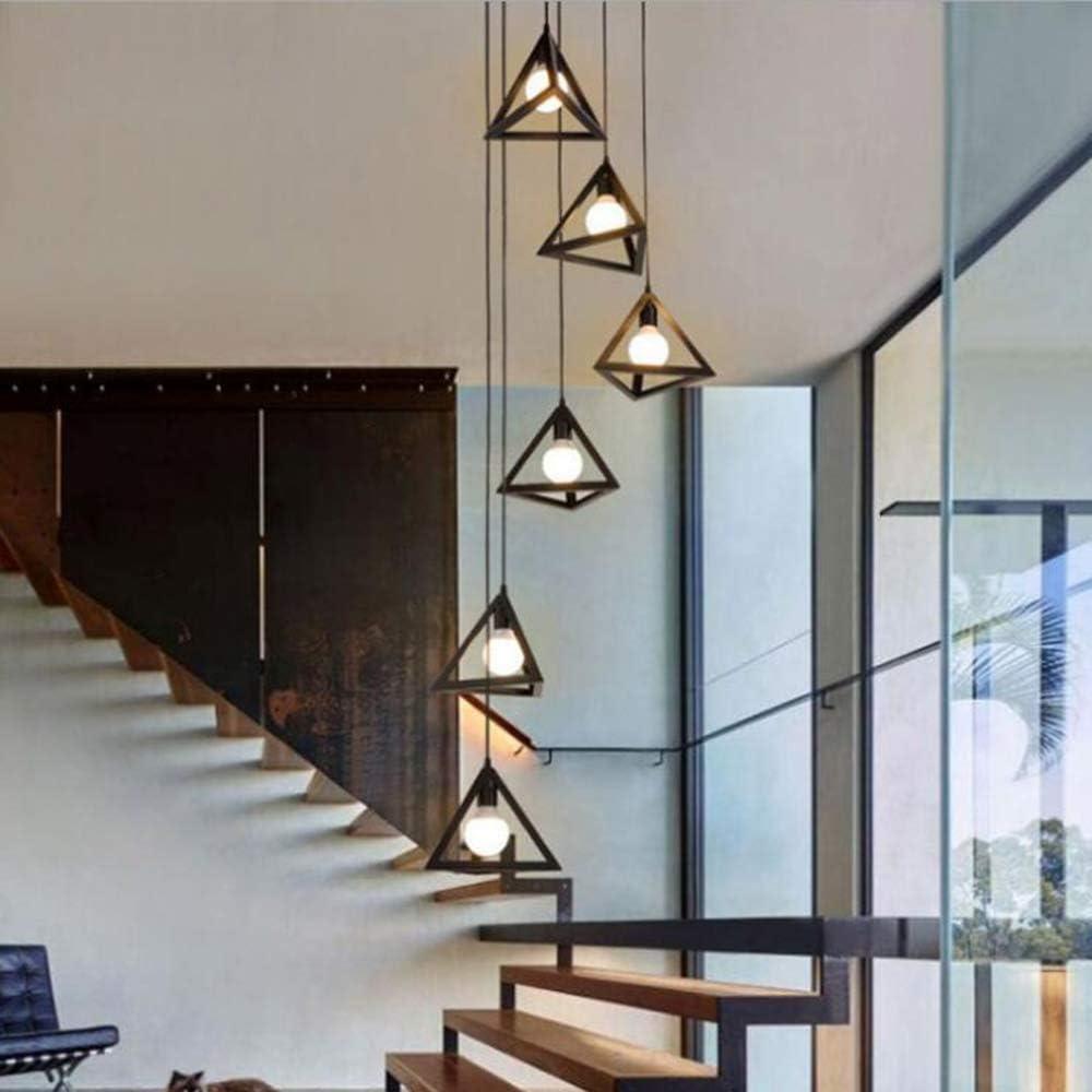 Lustre Vintage en Escalier en Fer Forg/é Luminaire Suspendu Support De Lampe E27 Lustre Long Descalier en Colima/çon en Duplex De Villa