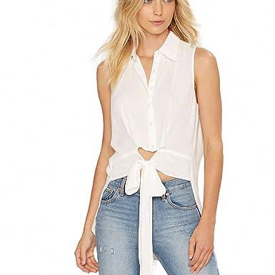 White Sheer Blouses Shirt Women Sleeveless High Low Top Female
