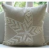 "Handmade Ecru Shams, Starfish Ocean and Beach Theme Pillow Shams, 24""x24"" Pillow Shams, Square Cotton Linen Shams, Mediterranean Pillow Shams - Starfish Pearls"
