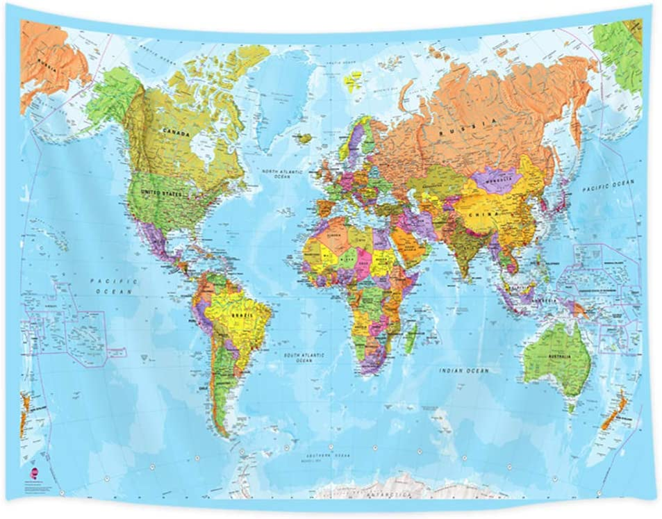 JAWO Map Tapestry, World Map Tapestries, Wall Art Hanging for Bedroom Living Room Dorm School Classroom, Great Tool for Students and Teachers 60X40Inches Wall Blankets