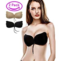 1249443f491cd Kingoudoor Strapless Backless Bra Pushup Sticky Self Adhesive Bras for  Women