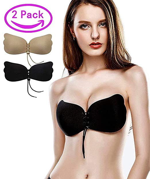4258eb6113 Kingoudoor Strapless Backless Bra Pushup Sticky Self Adhesive Bras for Women