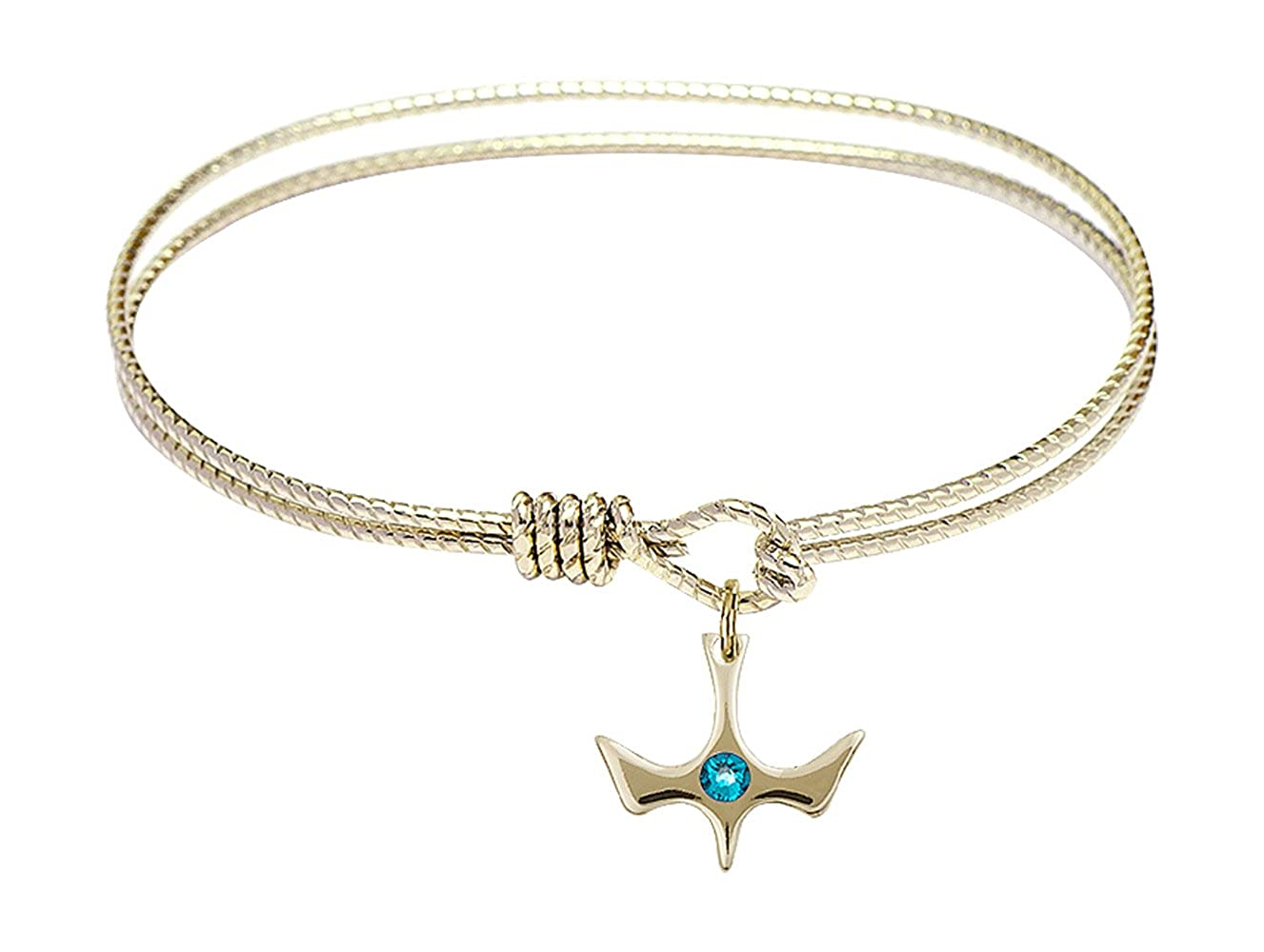 DiamondJewelryNY Eye Hook Bangle Bracelet with a Holy Spirit Charm.