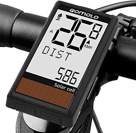 Qomolo Cuentakilómetros para Bicicleta, Energía Solar Velocímetro ...