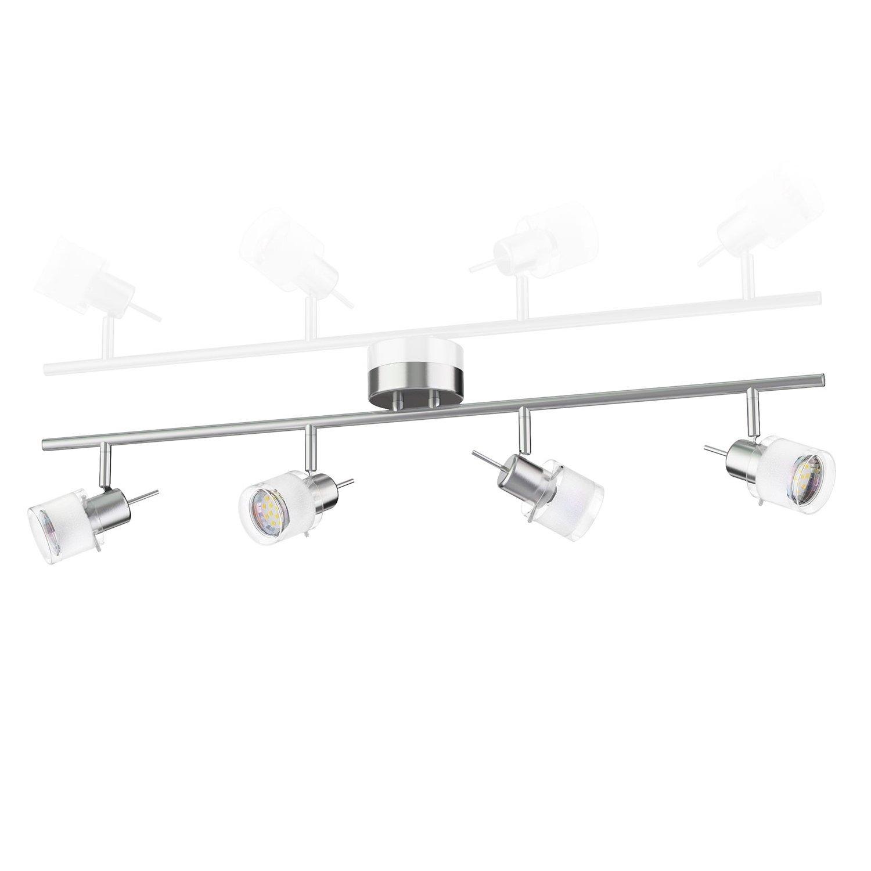 ledscom.de Plafonnier MIRAS, à Quatre Ampoules 420lm LED GU10 Ampoules, Blanche-Chaude [Classe énergétique A+] LEDs Com GmbH SET-0564-WW