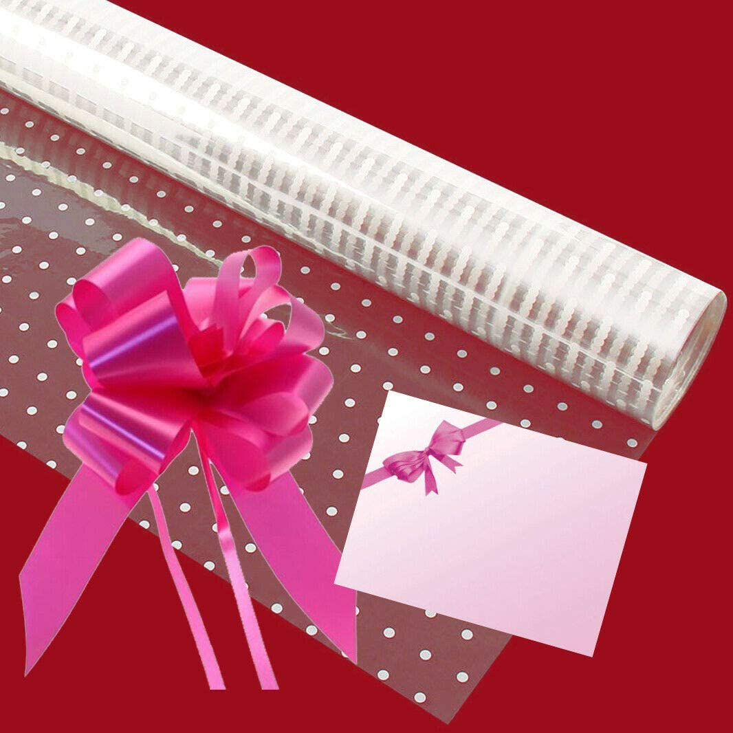 Baby Cream Curling Ribbon /& Bow Message Card White Dot Cellophane Gift Wrap with Free Baby Cream Pull Bow 4 Metres