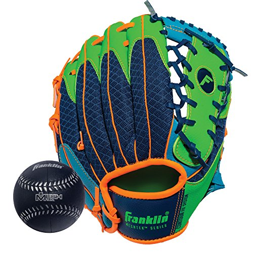 Franklin Sports Teeball Glove - Left and Right Handed Youth Fielding Glove - Meshtek Series - Synthetic Leather Baseball Glove - Ready To Play Glove - 9.5 Inch Right Hand Throw with Ball - Navy/Lime/Orange (Best Leather For Baseball Gloves)