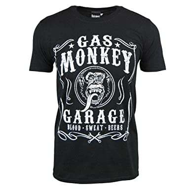 53126c76ebe Mens Official Gas Monkey Garage Blood Sweat Beers T Shirt Black
