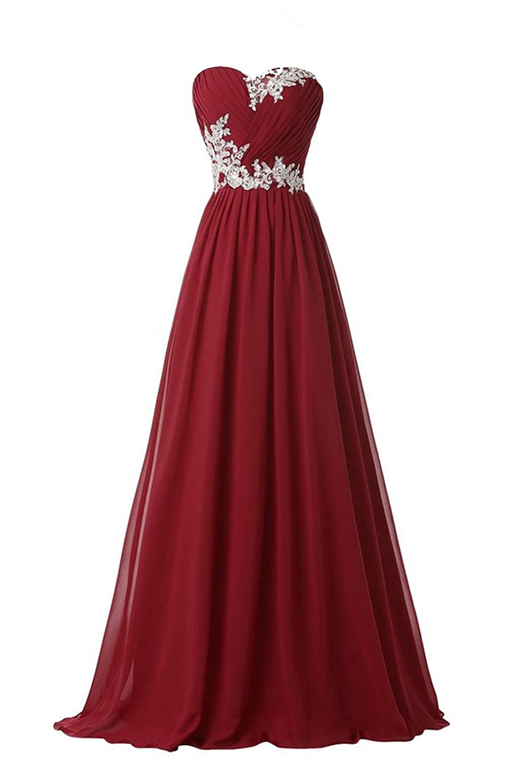 Olidress Women's Strapless Applique Long Evening Dress Prom Dress