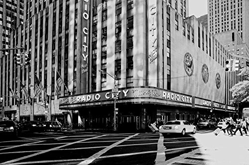 Quality Prints - Laminated 36x24 Vibrant Durable Photo Poster - New York Manhattan Skyscraper Building Glass Building Architecture Big Apple Radio City Music Hall Facade