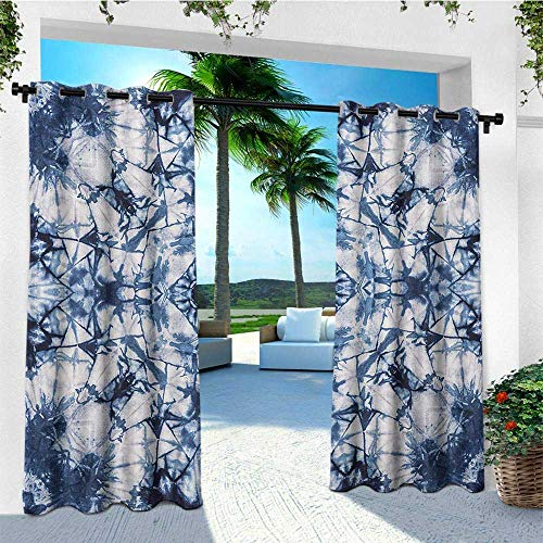 Psychedelic, Outdoor Curtain Panels Set of 2, Old Fashion Kaleidoscope Loose Unfold Motley Pattern with Inner Outer Layers, Set for Patio Waterproof W96 x L96 Inch Indigo Grey