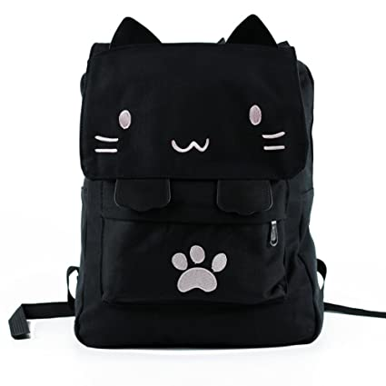 Black College Cute Cat Embroidery Canvas School Laptop Backpack Bags For  Women Kids Plus Size Japanese 615bdf059ebe2