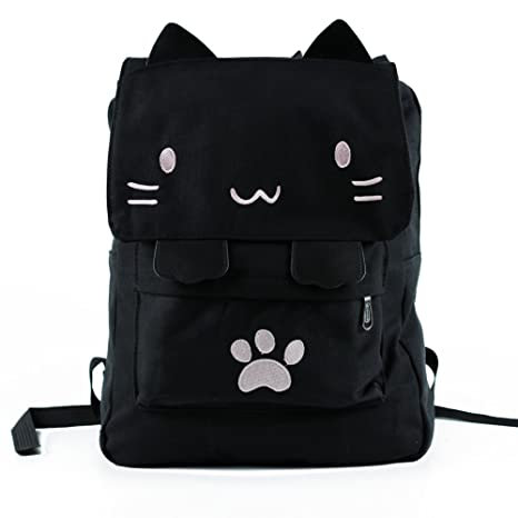 d0cb0f6038 Black College Cute Cat Embroidery Canvas School Laptop Backpack Bags For  Women Kids Plus Size Japanese