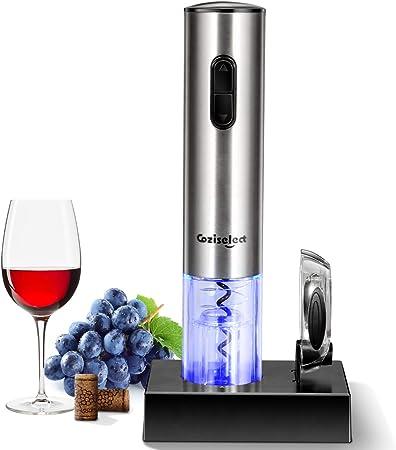 Coziselect Sacacorchos Eléctrico Inalámbrico, Profesional Automatico Abrelatas de Vino, Abridor Botellas con Cortador de Papel, Caja de Regalo, El Regalo Ideal para los Amantes del Vino