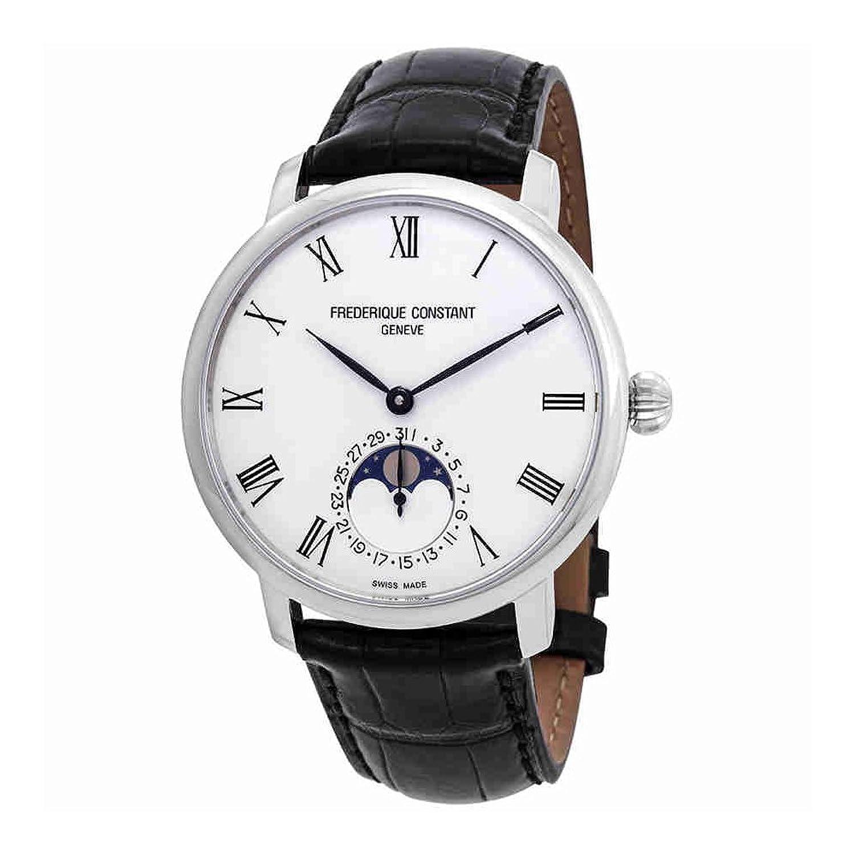 Frederique Constantスリムラインシルバーダイヤルレザーストラップメンズ腕時計fc-705wr4s6 B07B77GQV9
