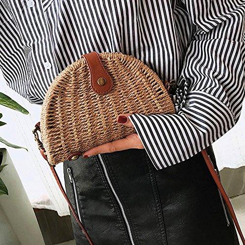 Crossbody Rattan Shell Women Messenger Bags Youn Shoulder Straw Handbags Beach R8v5vqOwx