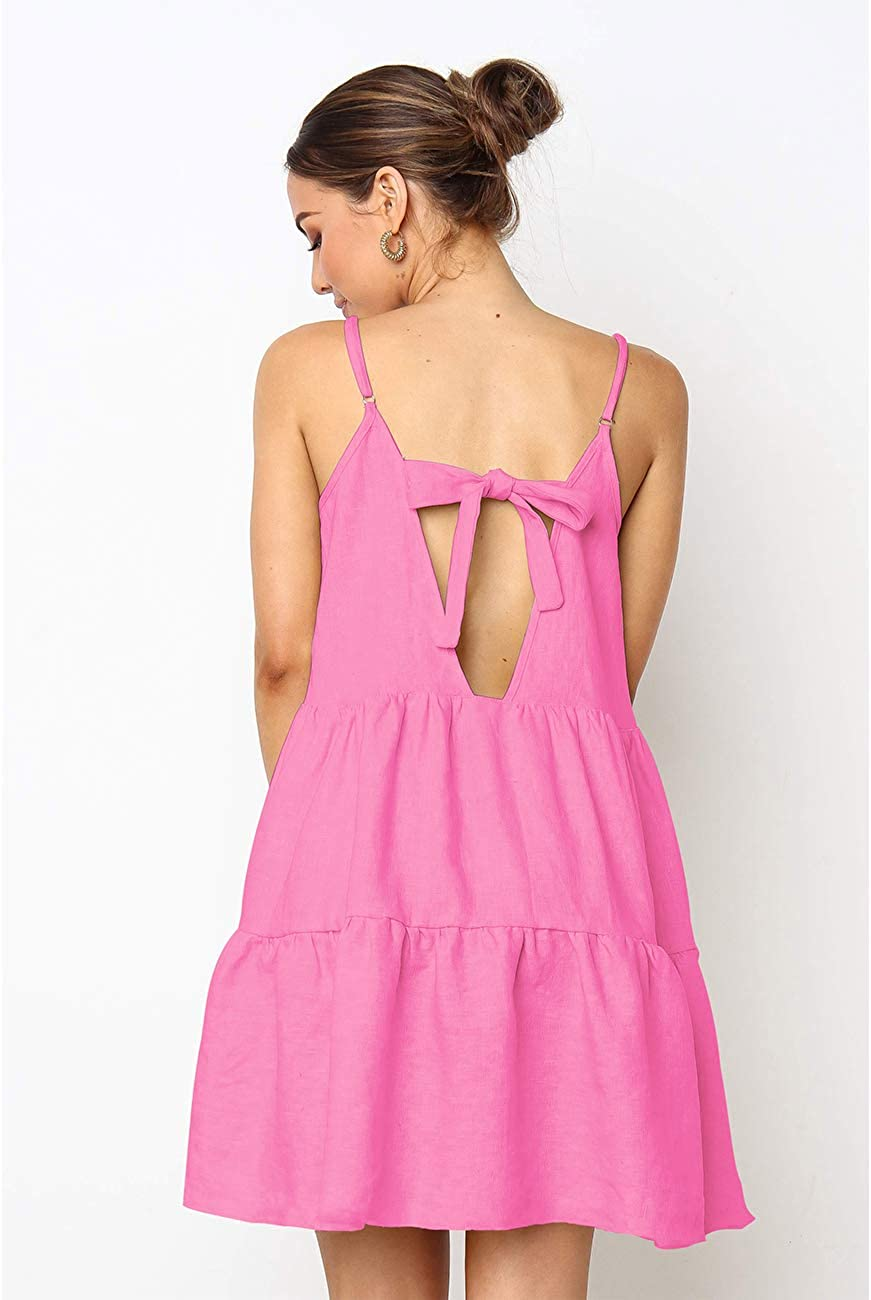 LOMON Summer Cover Up Strap Tunic Dress Short Backless Dresses for Women Pink,M