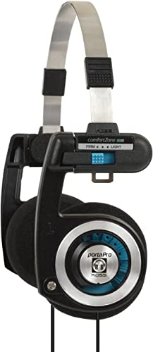 Koss Porta Pro On Ear Headphones with Case, Black Silver