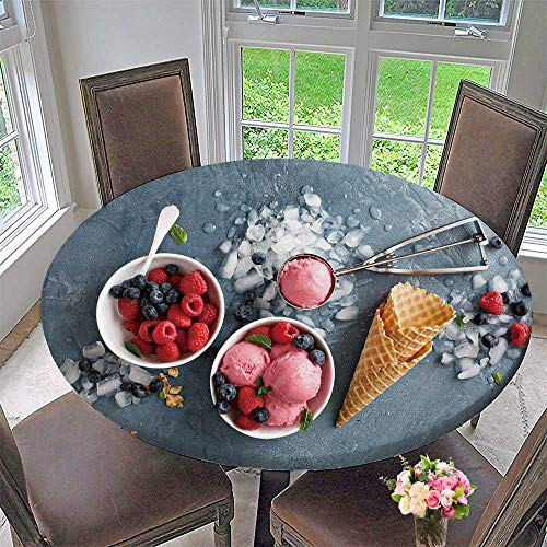 PINAFORE HOME Round Table Tablecloth Raspberry ice Cream in White Bowl Overhead Shot for Wedding Restaurant Party 35.5