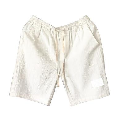 d99f0ae18058c Homme Shorts Bermudas Chino Pantacourt Pantalon en Lin Plage Sports  Décontracté Léger Confortable Respirant Blanc M
