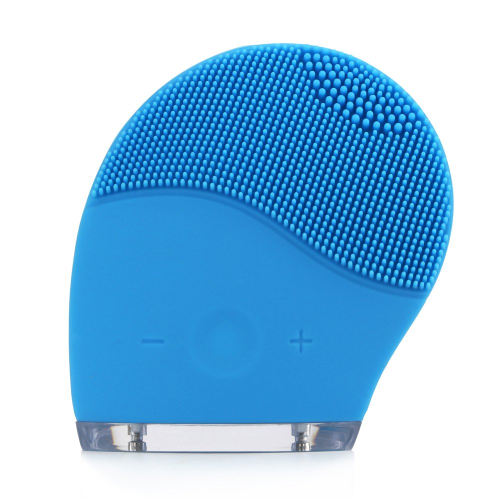 MS.DEAR Sonic Facial Cleansing Brush, Cleanser & Massager Silicon Vibrating Waterproof Facial Cleansing System-Blue