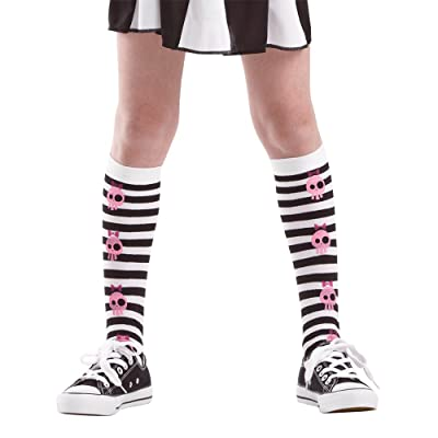 Pink Skull Black Striped Tights | Kids Halloween Costume & Dress Up Stockings: Clothing
