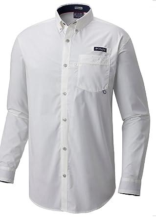 d44f2a96931 Columbia Mens Harborside Men's Woven LS Shirt 1709031100_S - White,  Collegiate Navy