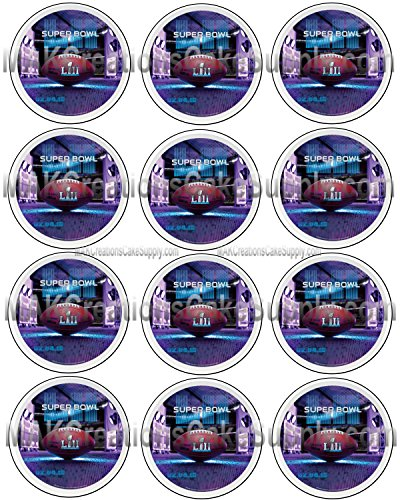 SUPER BOWL LII Licensed Edible Cupcake / Cookie Toppers ~ 12 Per Sheet