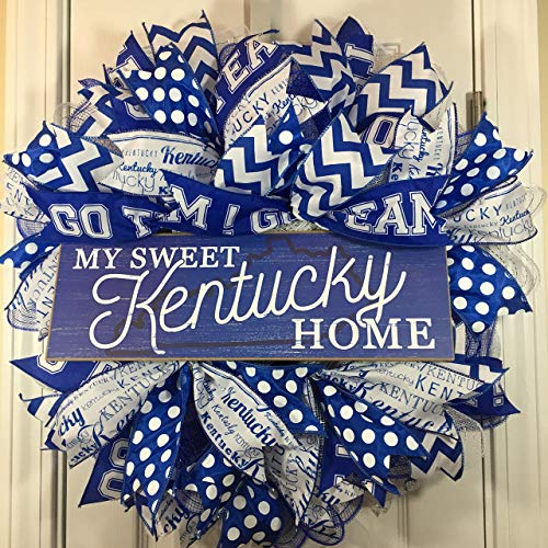Kentucky Wreath for Front Door with Deco Mesh and Ribbon, 22 - Kentucky Wildcats Wreath
