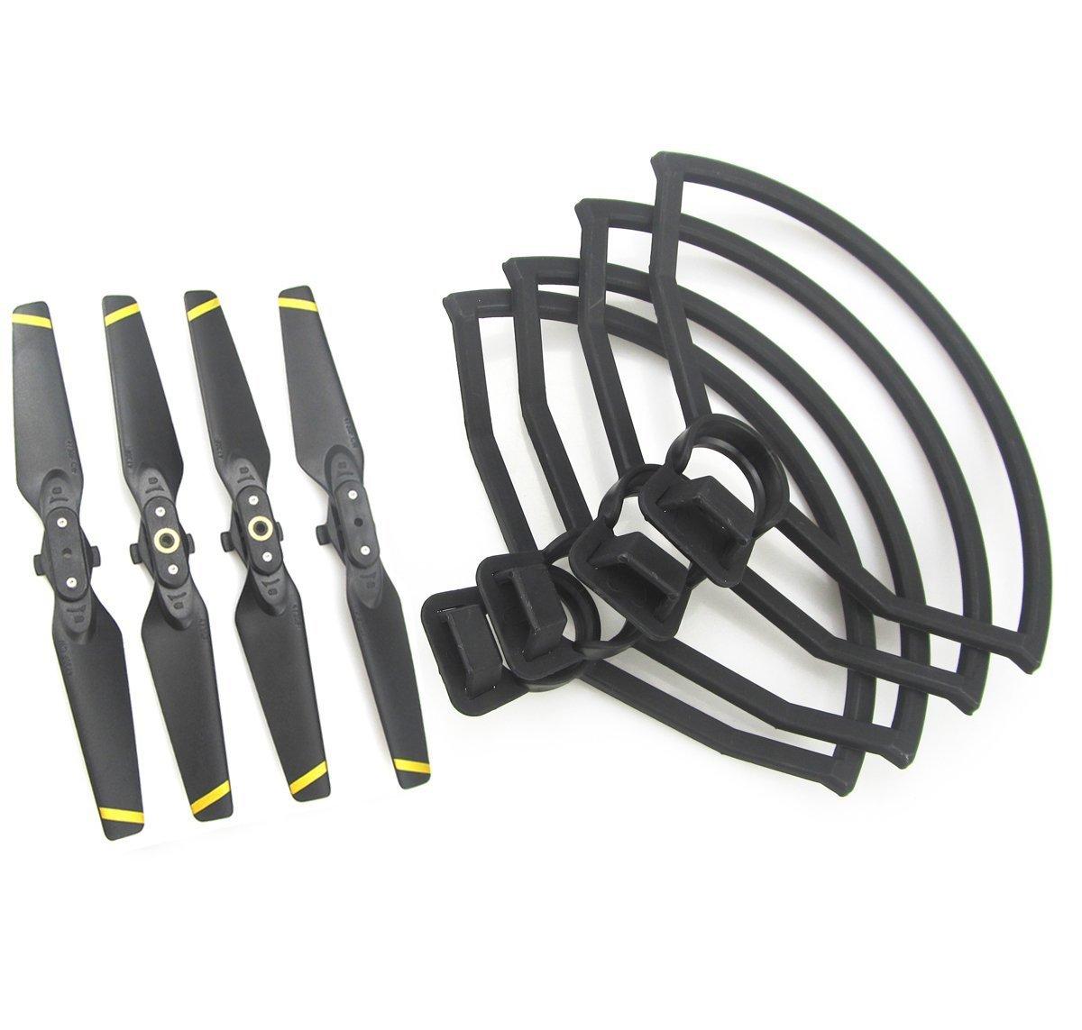 Tineer 4pcs h/élices /à Faible Bruit h/élices Pliables h/élices et 4pcs h/élices Garde Protecteur pour DJI Spark Drone
