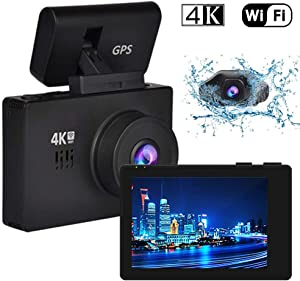 4K WIFI GPS Dash Cam, 3 Inch OLED Touch Screen, 2160P Dual Lens Front and Rear with Night Vision with SD Card, WDR, 170 Degree Wide Angle, Motion Detection, G-Sensor, Loop Recording and Parking Mode ,