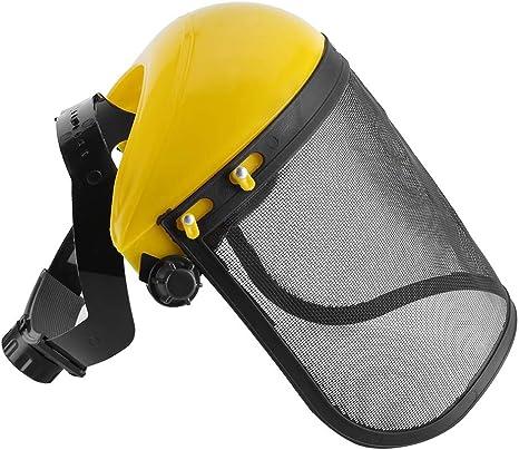 Casco de seguridad - Sombrero de casco de seguridad con visera de malla para todo el rostro, para cortar la protección forestal del desbrozadora