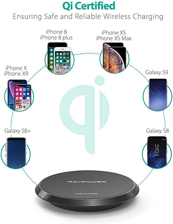 Wireless Charger Ravpower Qi Certified 10w Fast Wireless Charging Pad For Galaxy S9 S9 Note 8 Compatible Iphone X 8 Plus 8 And All Qi Enabled Phones