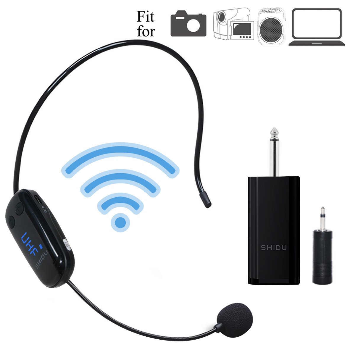 Wireless Microphone Headset Bluetooth, 115ft Stable Wireless Transmission Hand-free, Headworn Mic for Handheld Vocal Mic 2 in 1 Rechargeable for DSLR Camera Recording, Voice amplifier, Pa System ect by ResponseBridge