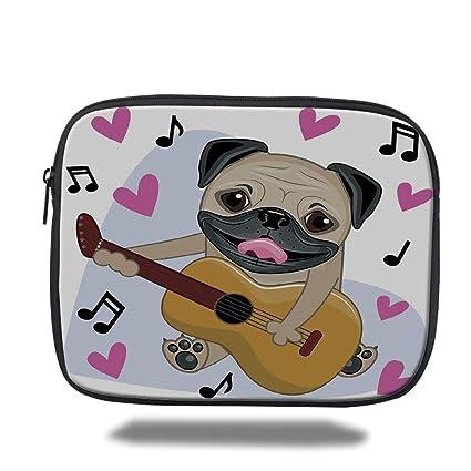 Funda Para Portatil Diseno De Perro Pug Jugando Guitarra Cantando