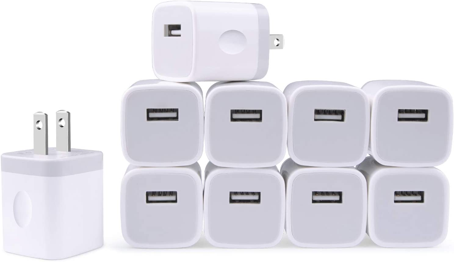 Charging Block for iPhone, Charger Box, USB Cube, NonoUV 10-Pack Single Port Wall Charger 1A/5V USB Outlet Plug Adapter Power Bricks for iPhone SE (2020) 11 Pro XR XS X 8 7 6 6S Plus, iPad, Samsung