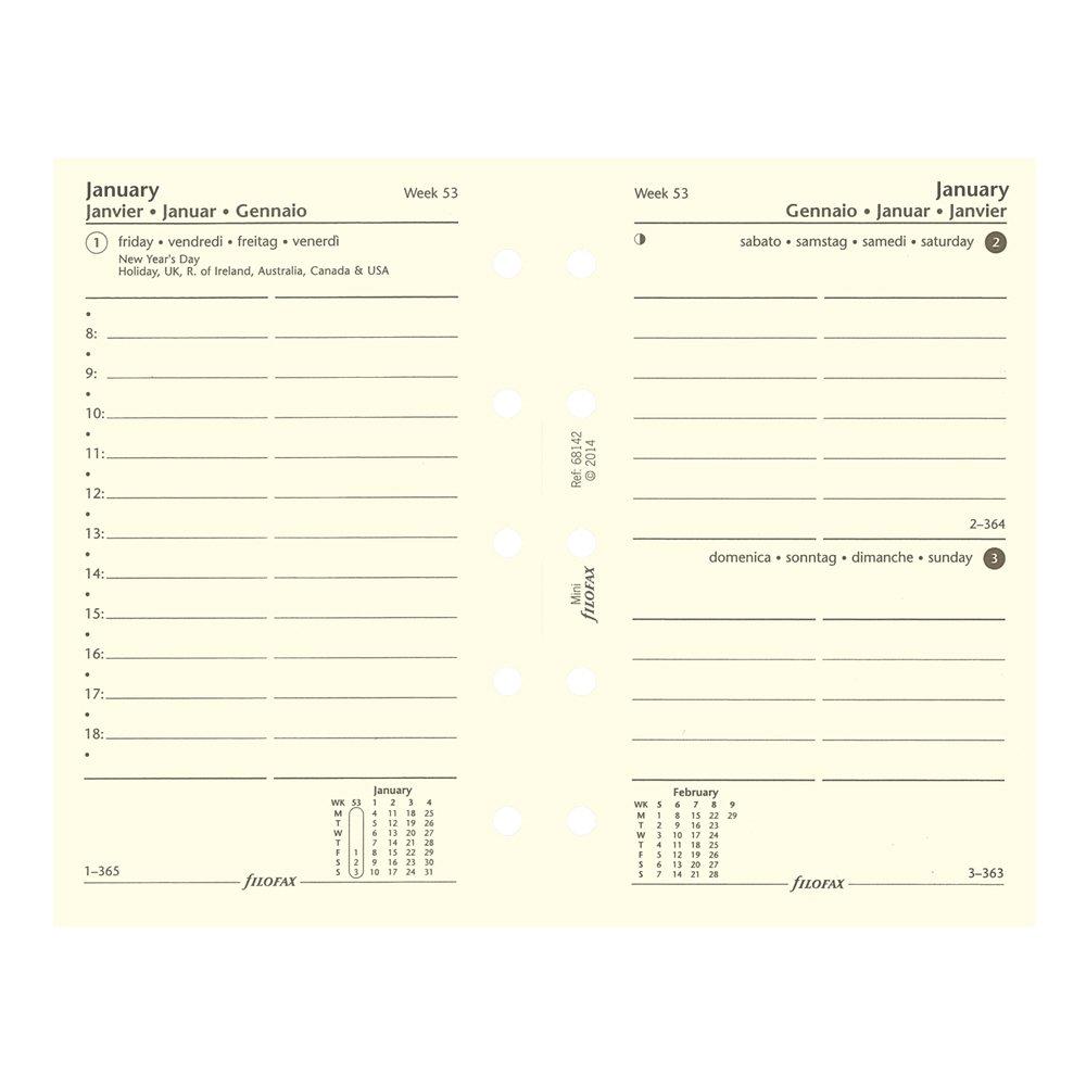 Filofax 18-68441 2018 Day Per Page Refill, Personal & Personal Compact Size: 6-3/4 x 3-3/4 Blueline Canada
