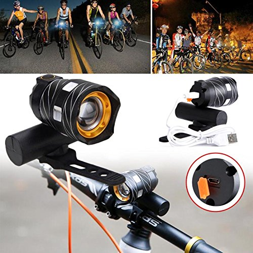 Auntwhale Bike USB Rechargeable LED Front Light Head Lamp Headlight Torch For MTB BMX Mountain Road Bike Cycling Gift (1Pc) by Auntwhale