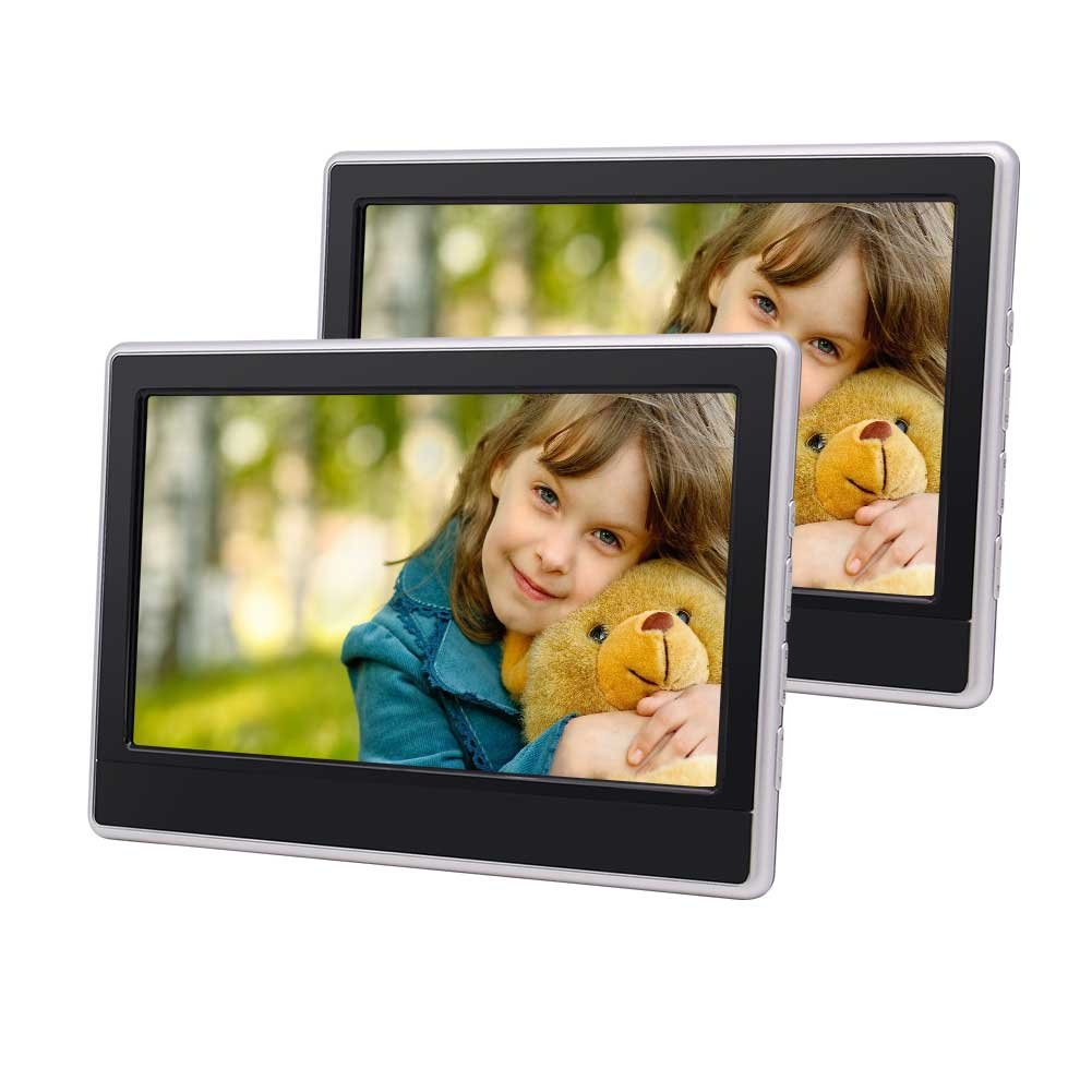 EincarデュアルカーDVDヘッドレスト11.6インチHD LCDスクリーンツインカー枕モニター内蔵USB / SD HDMIポートIR FMトランスミッターサポート32ビットゲームマルチメディア B0787Y6573
