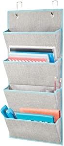 mDesign Soft Fabric Over Door Hanging Home Office Storage Organizer, 4 Large Cascading Pockets - Holds Office Supplies, Planners, File Folders, Notebooks - Textured Print - Gray/Teal