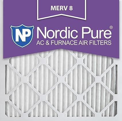nordic pure 25x25x1m8-6 merv 8 pleated ac furnace air filter ...