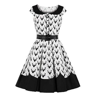 Vestido Vintage De Navidad Y Patrón De Renos De La Década De 1950 ...